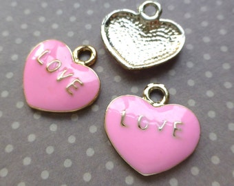 Enamelled Charm Pink Love Heart Pack of 10