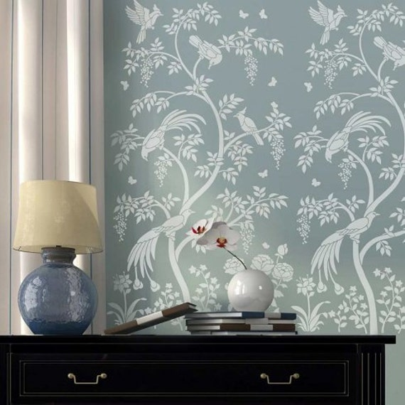 Birds and berries chinoiserie wall mural stencil better than for Chinoiserie wall mural