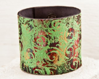 Nature Jewelry Natural Bracelets - Earth Tones Leather Wrist Cuffs - Woodland Forest Accessories OOAK