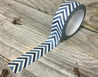 Washi Tape - 15mm - Shades of Blue Chevron Pattern on White - Deco Paper Tape No. 651