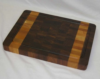 SALE! Cutting Board End-grain Walnut with 2 Light Stripes Medium Size