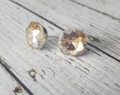 Large Champagne Beige Crystal Stud Earrings, Purchase 3 or more get 10% off