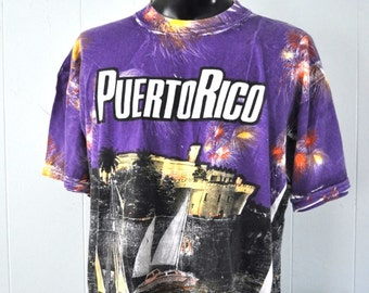 All Over Vintage Tshirt Peurto Rico Bold Colorful Bright Funky Tacky Sailing Summer Fireworks Purple San Juan 90s XL XXL