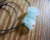 sea foam green and blue beach glass  leather necklace
