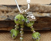 Strawberry Charm and Lime Green Lamp Work Beads Key Chain  ~  Strawberry Beaded Key Ring