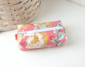 Small Boxy Pouch Pink and Yellow Coin Purse Floral Change Purse Credit Card Holder
