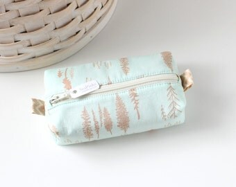 Small Boxy Pouch Woodland Trees Coin Purse Tree Change Purse Credit Card Holder