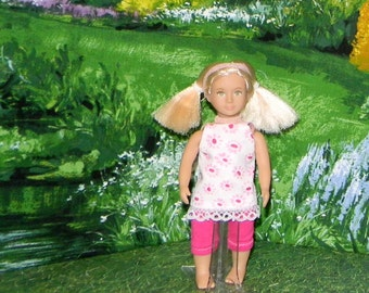 OGM-148) 6.5 inch Our Generation, American Girl and Lori, MINI doll clothes, 1 leggings and cute top