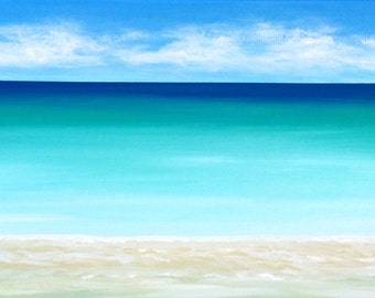 Seascape Beach Painting Modern Ocean Painting Contemporary  Beach Art Abstract Blue Tropical Caribbean Modern Original Seascape