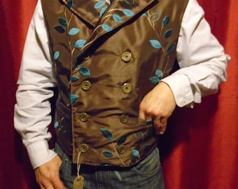"""Steampunk Classic Sweeny Todd  Brown Silk Embroidered Waistcoat 40- 45"""" Chest."""