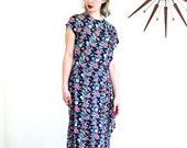 SALE 50% OFF 1940s Floral Dress/ 40s Novelty Print Dress/ 40s Navy Blue Rayon Dress/ Pink & White Flowers/ Short Sleeves/ Peplum dress/ 1940