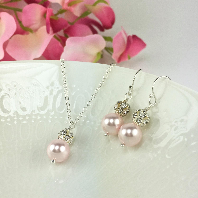 Blush pink bridesmaid jewelry set blush pink by for Pink wedding jewelry sets
