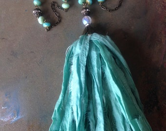 BoHo Sea Foam Bohemian Sari Silk Tassel Necklace Czech Glass Beaded Necklace Boho Gypsy Chic Fall Necklace