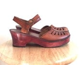 Leather Clog Mary Janes // Vintage // Womens 8