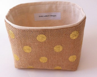 small fabric storage bin // burlap with gold dots