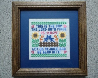 This is the Day Sampler - Inspirational Cross Stitch Picture - Home Decor