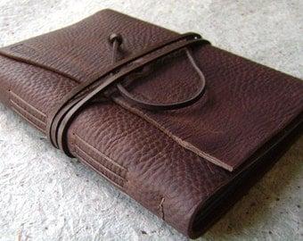 Slim leather photo album, for 4-inch by 6-inch photos, distressed dark brown album, rustic leather photo album(2141)