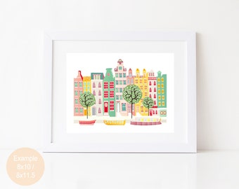 Amsterdam Print Canal boats, Skyline Paper Print, Dutch Houses, Cityscape, Illustration, Home decor, Art for kids room, nursery, SPPACB1