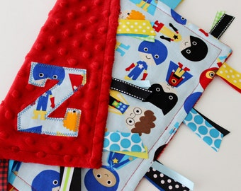 taggie blanket, taggie, custom, personalized, baby, boy, gift, superhero, minky, ribbon, sensory, lovey, tags, red