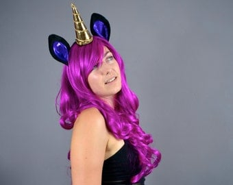Midnight Unicorn Headband - black/purple/gold