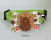 Gobble Till You Wobble Thanksgiving Turkey Dog Collar Size XS through Large by Doogie Couture