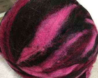 Alpaca Wool Roving, Spinning, Felting, Black, Pink, Burgundy, Black Cherry Tweed