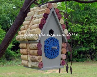 Wine Cork bird house - housewarming gifts, happy hour for the birds