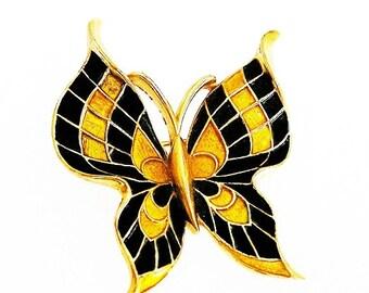 Trifari Enamel Butterfly Black and Gold Figural Brooch