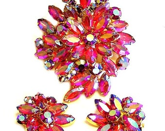 Sparkling Red and Red AB Rhinestone Brooch and Earring Set Demi Parure