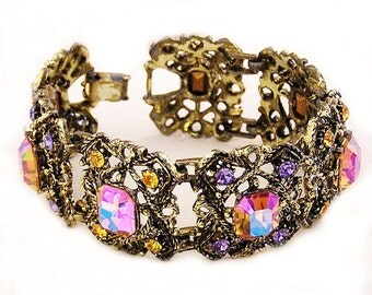 Victorian Revival Long Bracelet c1950's, Intense Colors