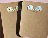 Twins Baby Gift Thank You Cards - Shower Thank You Cards - Twins Baby Elephant Thank You Cards - Baby Gift Thank you cards   ETYC17