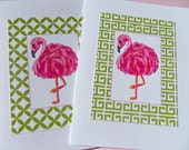 Pink Flamingo Cards - Bridal Shower Cards - Flamingo Note cards - Bird Note cards - Pink Flamingos Thank You Cards pf