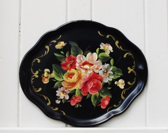 Vintage Tole Tray Handpainted Floral Metal Tray