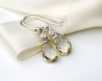 Oregon Sunstone Earrings | Champagne Pear Briolettes Wire Wrapped in Argentium Silver | Small Drop Dangles | Lil' Sunshine | Made to Order