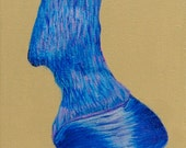 A Quarter Of A Quarter by Darlene Muto teal, purple, blue, pink, beige horse hoof Acrylic Original Painting