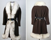 SILVER FOX Vintage 60s Chocolate Brown Wool Coat XL