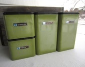 Vintage Avocado Green Masterware Canister Set