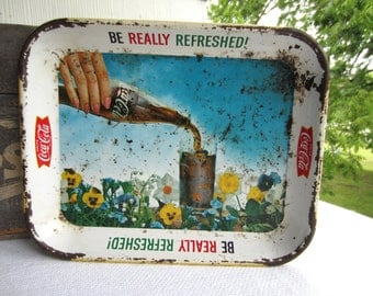 Vintage 1960s Coca Cola Advertising Tray Be Really Refreshed
