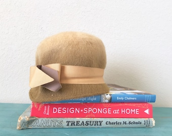 Vintage Womens Hat Eva Mae Ombre Tan Brown With Bow