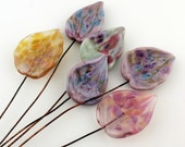 Lampwork Glass Leaf Head Pins Pink, Green, Blue, Purple,  Headpin Assortment on Antique Copper Wire Matte Etched