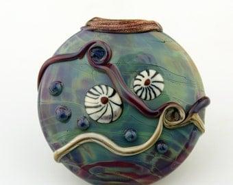 Lampwork Glass Bead Lentil Focal Blue Purple 'Cosmic'