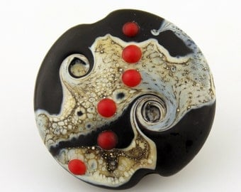 Lampwork Glass Bead, SRA Organic Etched Focal Lentil Bead - Black, Gray, Ivory, Red