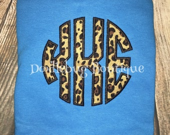 Leopard applique initial shirt