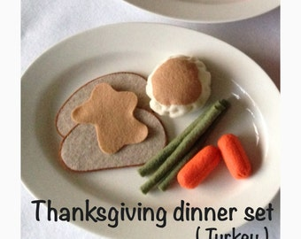ETSY Play food -Pretend felt  food  Thanksgiving doinner (Turkey)