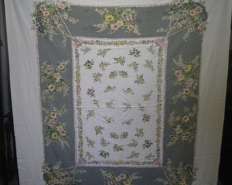 1950s Print Kitchen Table Cloth - Spring Flower Basket