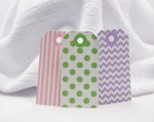 Assorted Gift Tags Birthday Tags Favor Tags Set of 12 Pink Stripes Green Dots Purple Chevron