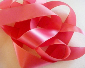 Vintage 1940's Taffeta Satin Ribbon 1 1/2 Inch Raspberry Pink