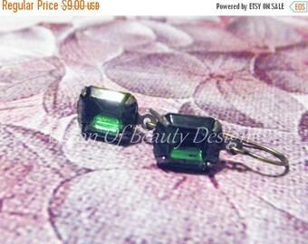 ON SALE CIJ Dainty Tourmaline Green Drop Earrings Vintage Rhinestone Brass Earrings Gift for Her