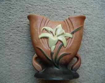 Vintage Roseville Pottery Vase with Flower
