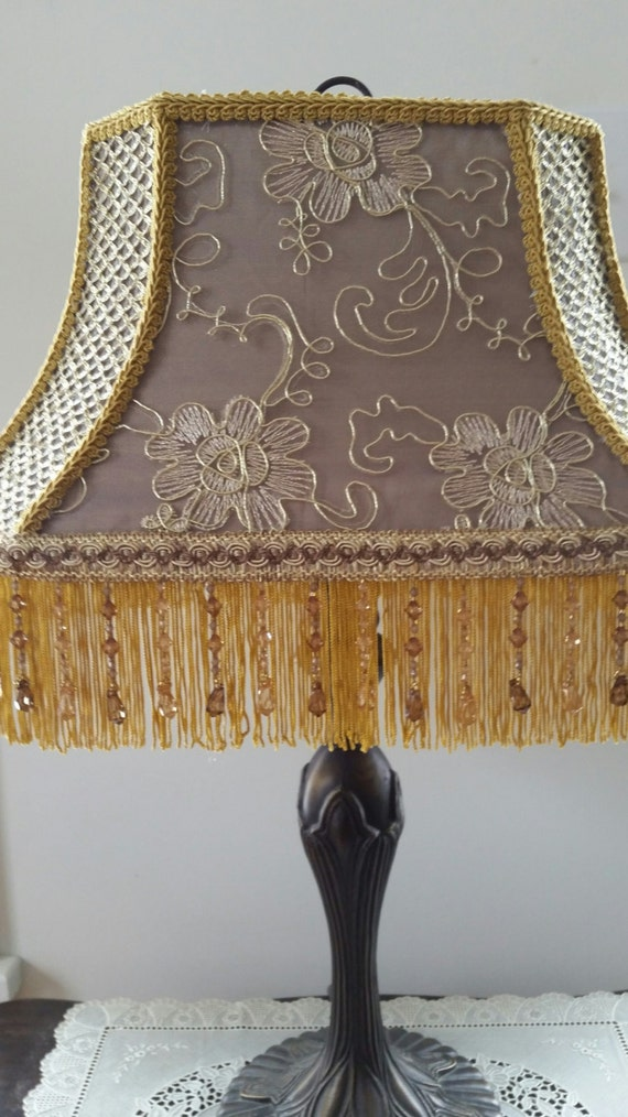 bronze and gold lamp shade with beaded fringe. Black Bedroom Furniture Sets. Home Design Ideas